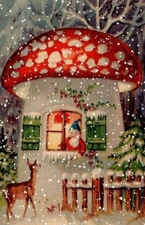 Amanita Muscaria christmas postcard