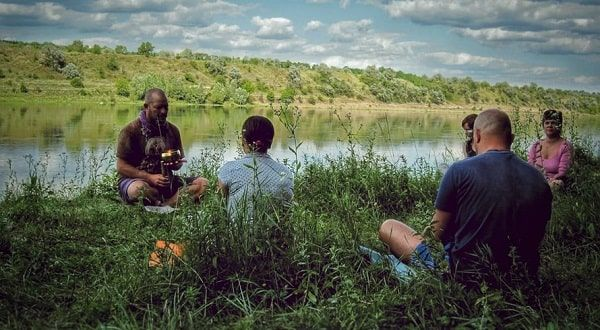 People meditating ritual
